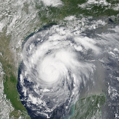 Hurricane Harvey approaching Texas on Aug. 24, 2017. Photo courtesy of NASA Earth Observatory.