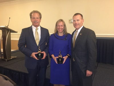Randy Oostra, president & CEO, ProMedica; Tina Freese Decker, president, Spectrum Health Hospital Group; and Brian Peters, MHA CEO, at the Foster G. McGaw Prize for Excellence in Community Service award presentation.
